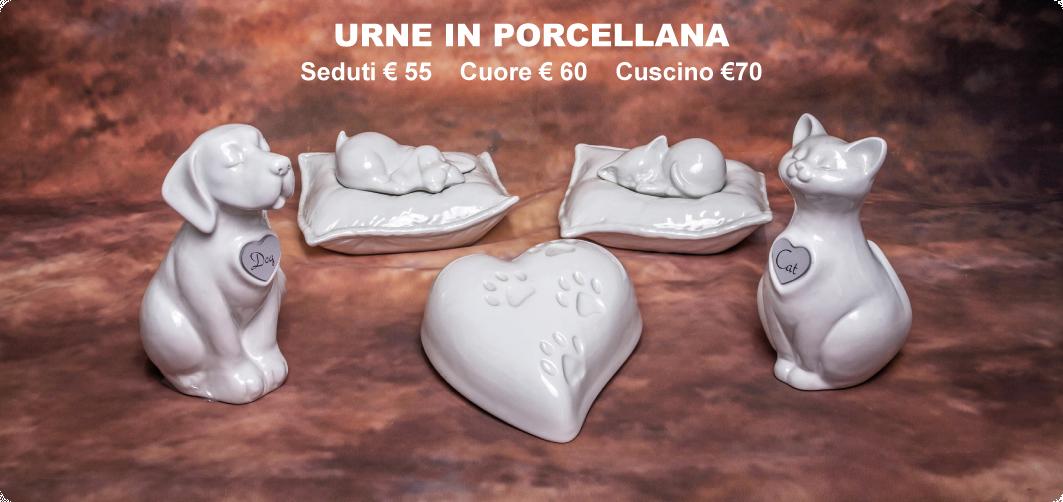 urne in porcellana Seduti €55 Cuore €60 Cuscino€70